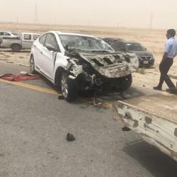 حادث مروري مروع بمدخل الخفجي لطالبين من معهد البترول